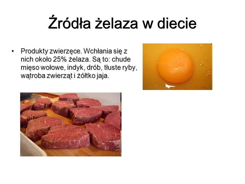 Źródła żelaza w diecie Produkty zwierzęce. Wchłania się z nich około 25% żelaza. Są to: chude mięso wołowe, indyk, drób, tłuste ryby, wątroba zwierząt
