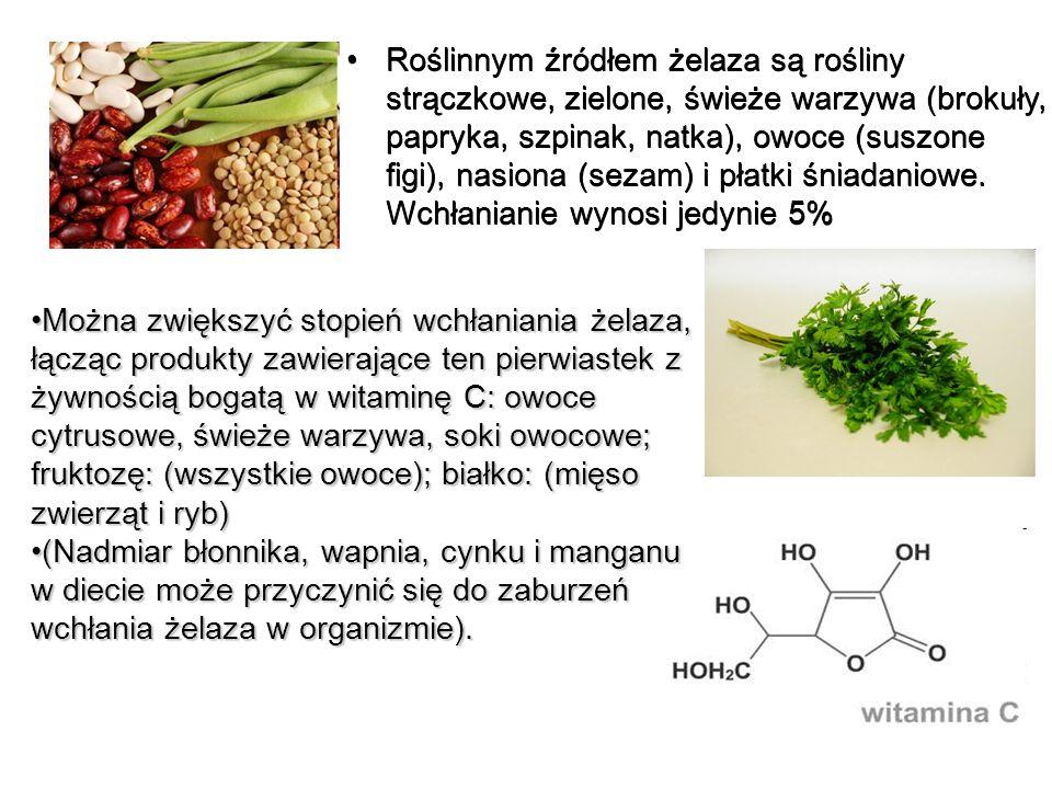 Roślinnym źródłem żelaza są rośliny strączkowe, zielone, świeże warzywa (brokuły, papryka, szpinak, natka), owoce (suszone figi), nasiona (sezam) i pł