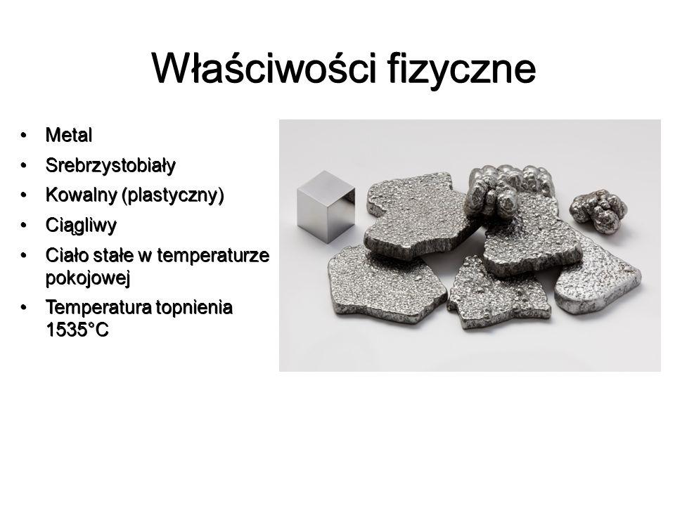 Właściwości fizyczne Metal Metal Srebrzystobiały Srebrzystobiały Kowalny (plastyczny) Kowalny (plastyczny) Ciągliwy Ciągliwy Ciało stałe w temperaturz