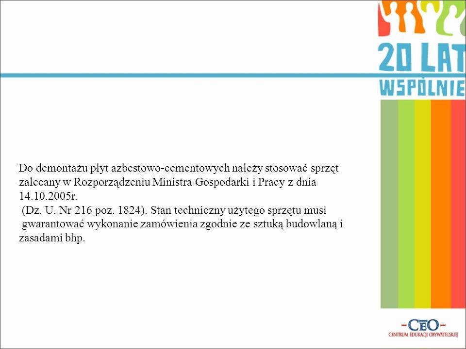 Do demontażu płyt azbestowo-cementowych należy stosować sprzęt zalecany w Rozporządzeniu Ministra Gospodarki i Pracy z dnia 14.10.2005r. (Dz. U. Nr 21