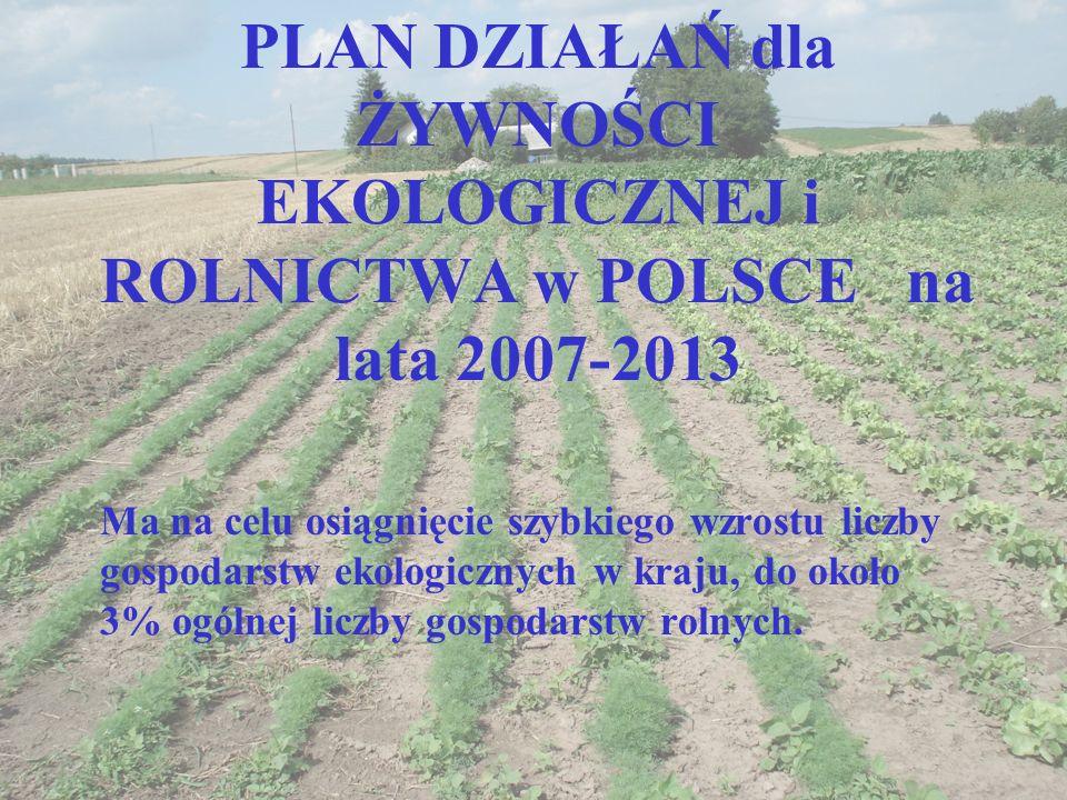 PLAN DZIAŁAŃ dla ŻYWNOŚCI EKOLOGICZNEJ i ROLNICTWA w POLSCE na lata 2007-2013 Ma na celu osiągnięcie szybkiego wzrostu liczby gospodarstw ekologicznyc