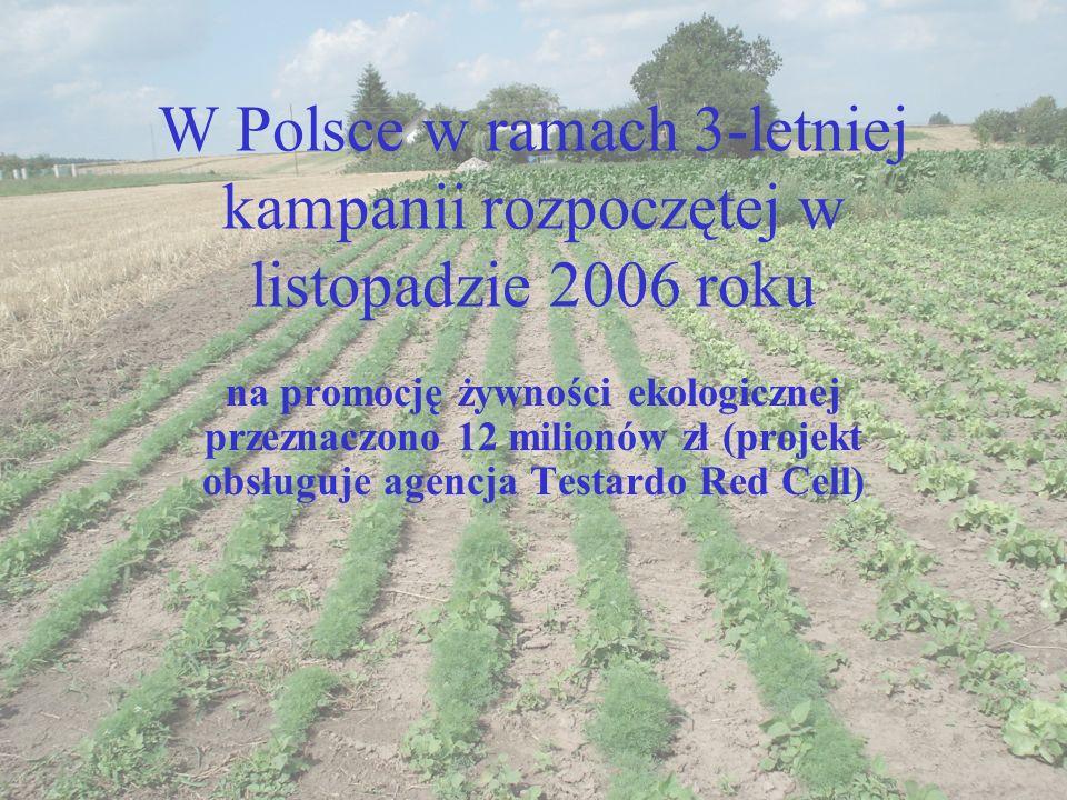 W Polsce w ramach 3-letniej kampanii rozpoczętej w listopadzie 2006 roku na promocję żywności ekologicznej przeznaczono 12 milionów zł (projekt obsług