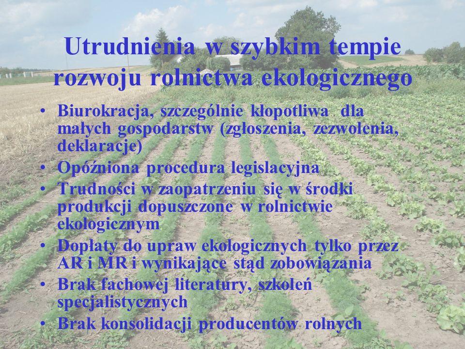 Utrudnienia w szybkim tempie rozwoju rolnictwa ekologicznego Biurokracja, szczególnie kłopotliwa dla małych gospodarstw (zgłoszenia, zezwolenia, dekla