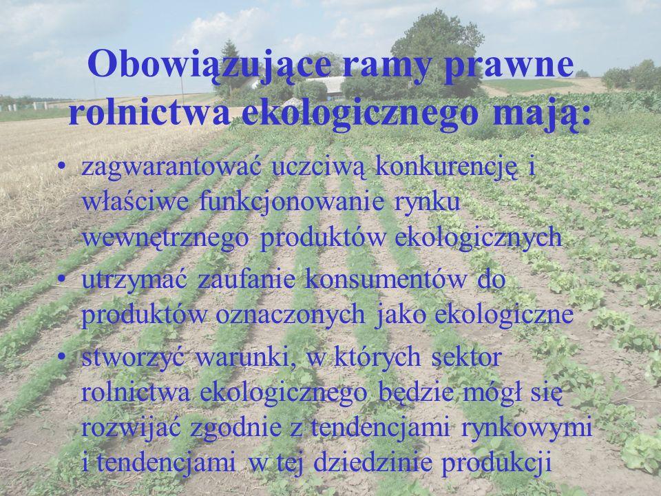 Obowiązujące ramy prawne rolnictwa ekologicznego mają: zagwarantować uczciwą konkurencję i właściwe funkcjonowanie rynku wewnętrznego produktów ekolog