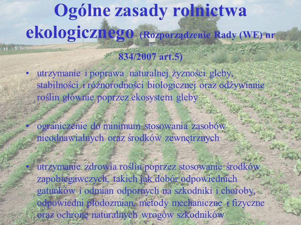 Ogólne zasady rolnictwa ekologicznego (Rozporządzenie Rady (WE) nr 834/2007 art.5) utrzymanie i poprawa naturalnej żyzności gleby, stabilności i różno
