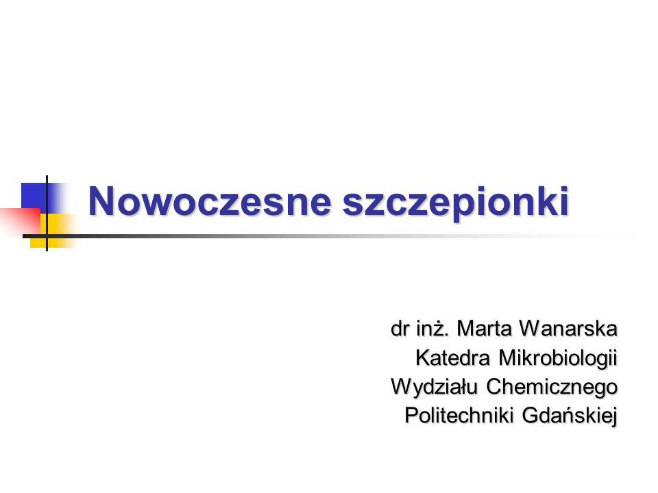 Nowoczesne szczepionki dr inż. Marta Wanarska Katedra Mikrobiologii Wydziału Chemicznego Politechniki Gdańskiej