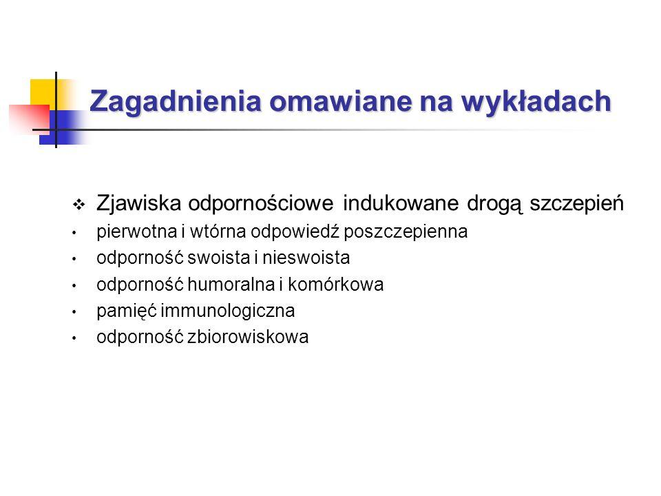 Zagadnienia omawiane na wykładach Zjawiska odpornościowe indukowane drogą szczepień pierwotna i wtórna odpowiedź poszczepienna odporność swoista i nie