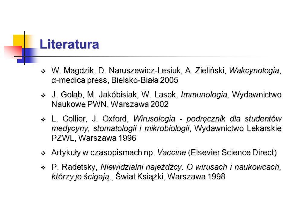 Literatura W. Magdzik, D. Naruszewicz-Lesiuk, A. Zieliński, Wakcynologia, α-medica press, Bielsko-Biała 2005 W. Magdzik, D. Naruszewicz-Lesiuk, A. Zie