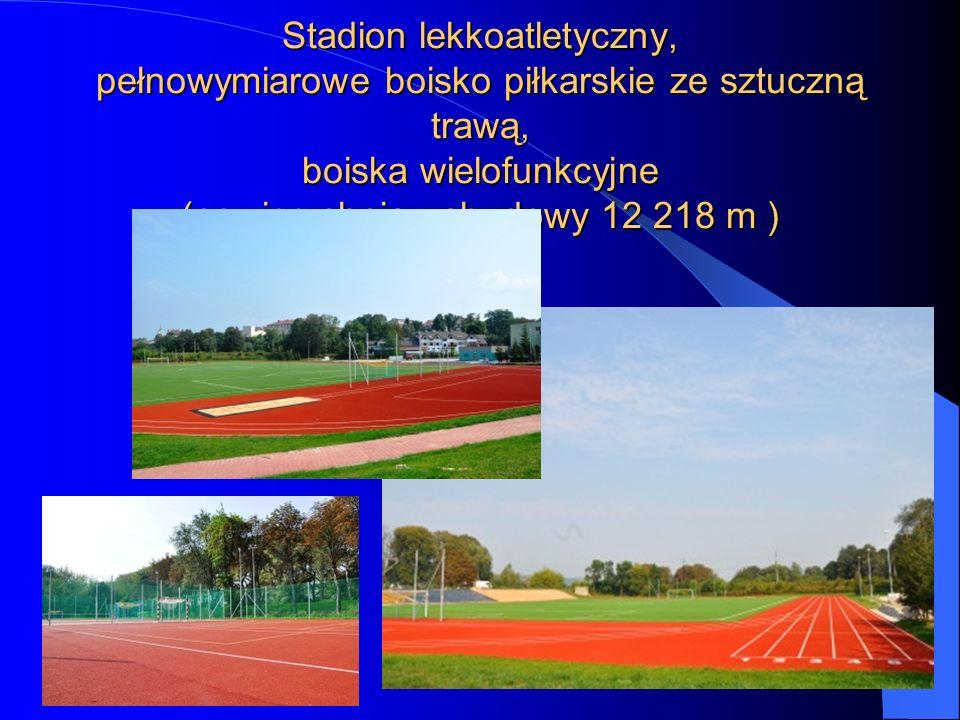 Stadion lekkoatletyczny, pełnowymiarowe boisko piłkarskie ze sztuczną trawą, boiska wielofunkcyjne (powierzchnia zabudowy 12 218 m )