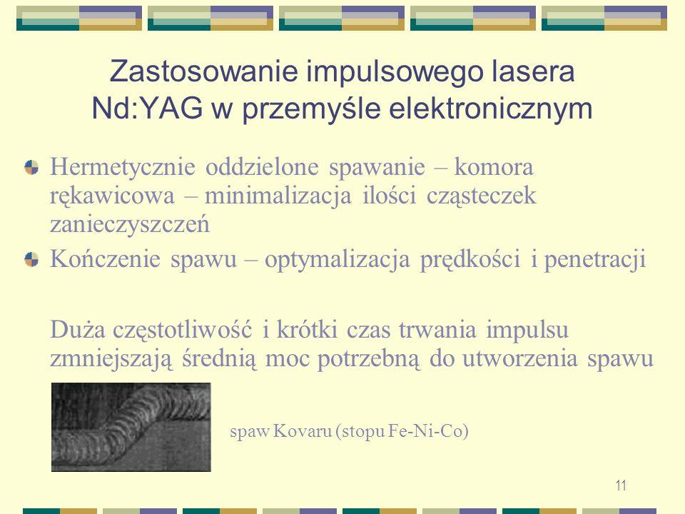 11 Zastosowanie impulsowego lasera Nd:YAG w przemyśle elektronicznym Hermetycznie oddzielone spawanie – komora rękawicowa – minimalizacja ilości cząst