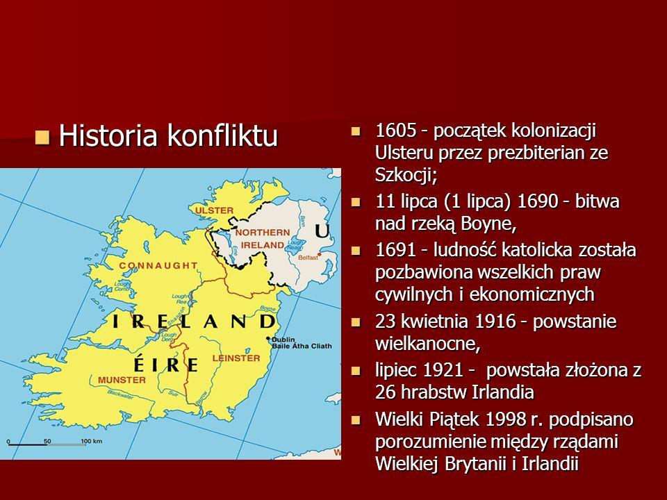 Historia konfliktu Historia konfliktu 1605 - początek kolonizacji Ulsteru przez prezbiterian ze Szkocji; 1605 - początek kolonizacji Ulsteru przez prezbiterian ze Szkocji; 11 lipca (1 lipca) 1690 - bitwa nad rzeką Boyne, 11 lipca (1 lipca) 1690 - bitwa nad rzeką Boyne, 1691 - ludność katolicka została pozbawiona wszelkich praw cywilnych i ekonomicznych 1691 - ludność katolicka została pozbawiona wszelkich praw cywilnych i ekonomicznych 23 kwietnia 1916 - powstanie wielkanocne, 23 kwietnia 1916 - powstanie wielkanocne, lipiec 1921 - powstała złożona z 26 hrabstw Irlandia lipiec 1921 - powstała złożona z 26 hrabstw Irlandia Wielki Piątek 1998 r.