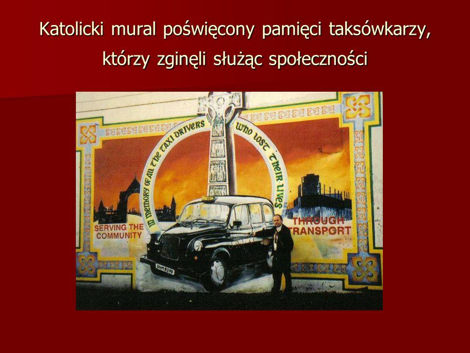 Katolicki mural poświęcony pamięci taksówkarzy, którzy zginęli służąc społeczności