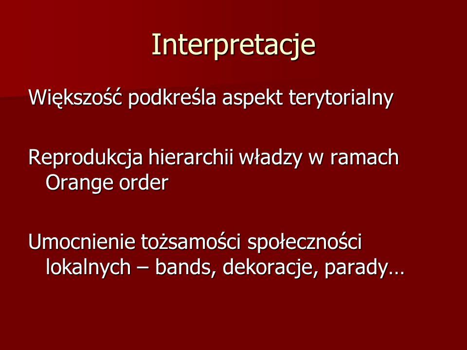 Interpretacje Większość podkreśla aspekt terytorialny Reprodukcja hierarchii władzy w ramach Orange order Umocnienie tożsamości społeczności lokalnych