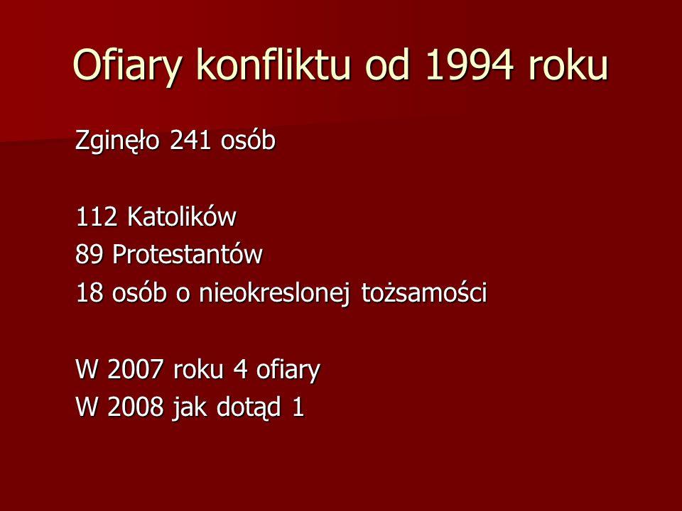 Ofiary konfliktu od 1994 roku Zginęło 241 osób 112 Katolików 89 Protestantów 18 osób o nieokreslonej tożsamości W 2007 roku 4 ofiary W 2008 jak dotąd