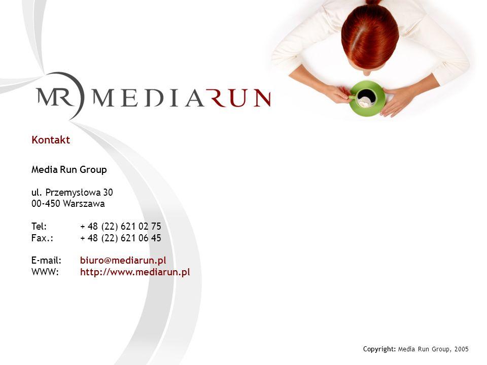 Media Run Group ul. Przemysłowa 30 00-450 Warszawa Tel: + 48 (22) 621 02 75 Fax.: + 48 (22) 621 06 45 E-mail: biuro@mediarun.pl WWW: http://www.mediar
