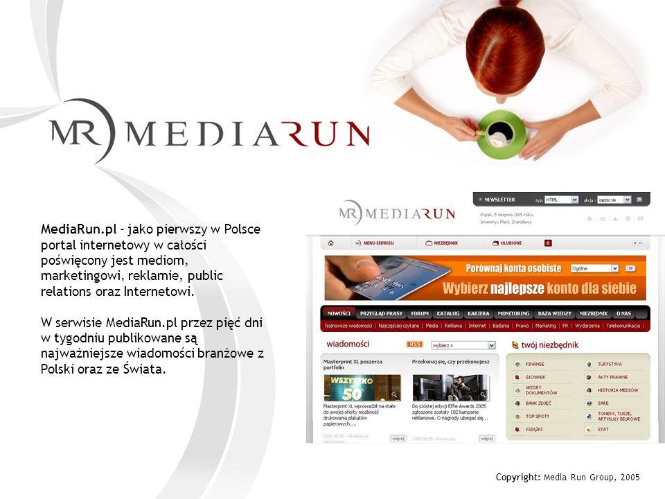 Copyright: Media Run Group, 2005 Profil użytkowników serwisu Mediarun.pl Miejsce zamieszkania - dane w % Źródło: MRG, profil subskrybentów, październik 2005