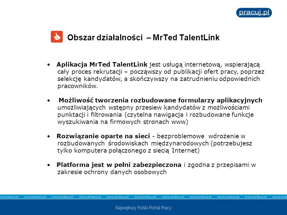Aplikacja MrTed TalentLink jest usługą internetową, wspierającą cały proces rekrutacji – począwszy od publikacji ofert pracy, poprzez selekcję kandyda
