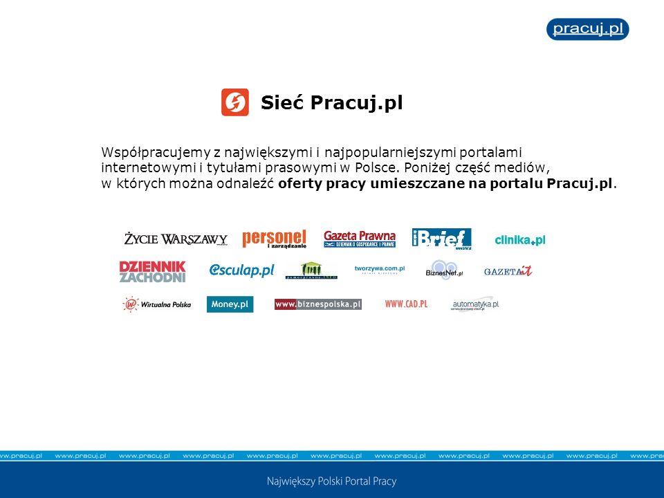 Sieć Pracuj.pl Współpracujemy z największymi i najpopularniejszymi portalami internetowymi i tytułami prasowymi w Polsce. Poniżej część mediów, w któr