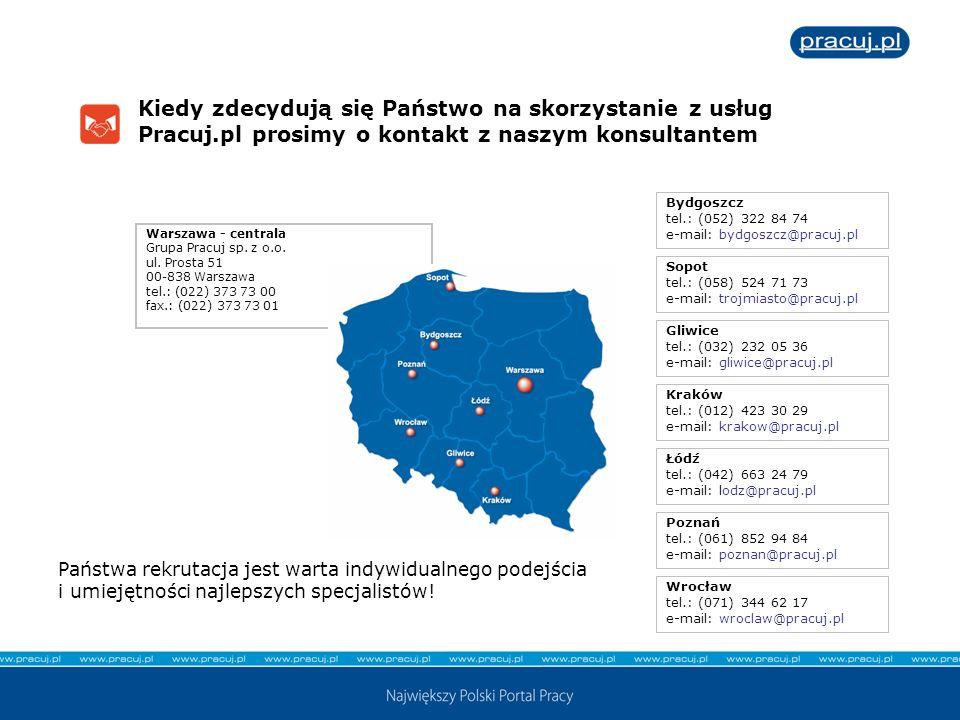 Kiedy zdecydują się Państwo na skorzystanie z usług Pracuj.pl prosimy o kontakt z naszym konsultantem Warszawa - centrala Grupa Pracuj sp. z o.o. ul.