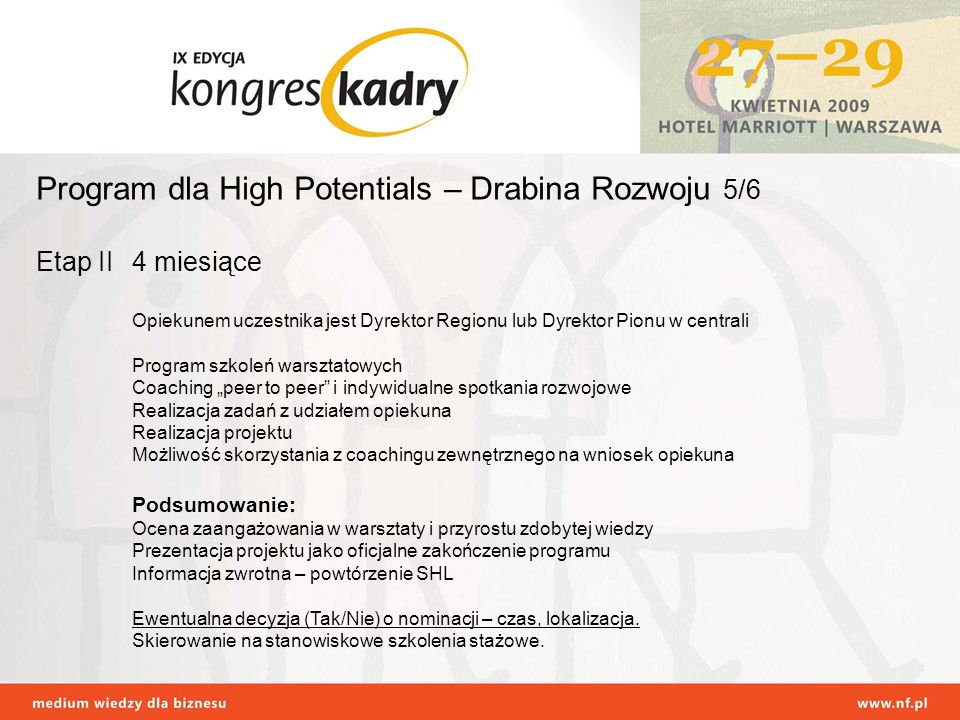 Program dla High Potentials – Drabina Rozwoju 5/6 Etap II 4 miesiące Opiekunem uczestnika jest Dyrektor Regionu lub Dyrektor Pionu w centrali Program