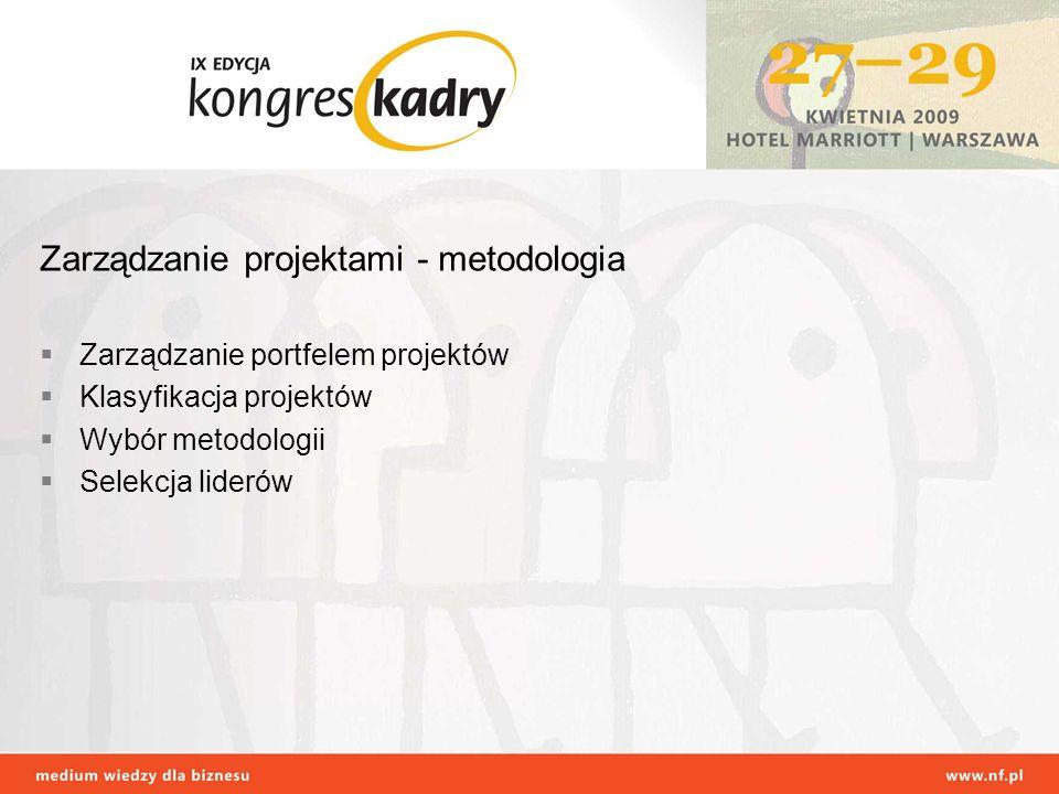 Zarządzanie projektami - metodologia Zarządzanie portfelem projektów Klasyfikacja projektów Wybór metodologii Selekcja liderów