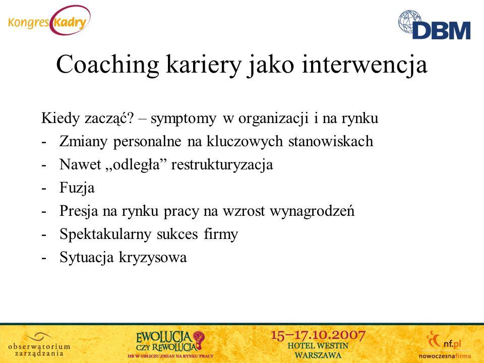 Coaching kariery jako interwencja Kiedy zacząć? – symptomy w organizacji i na rynku -Zmiany personalne na kluczowych stanowiskach -Nawet odległa restr