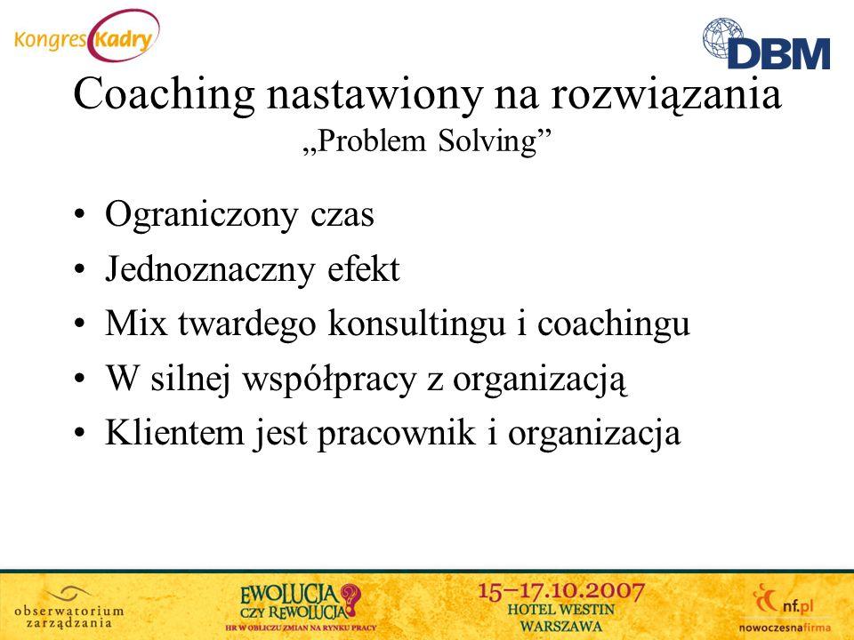 Coaching nastawiony na rozwiązania Problem Solving Ograniczony czas Jednoznaczny efekt Mix twardego konsultingu i coachingu W silnej współpracy z orga