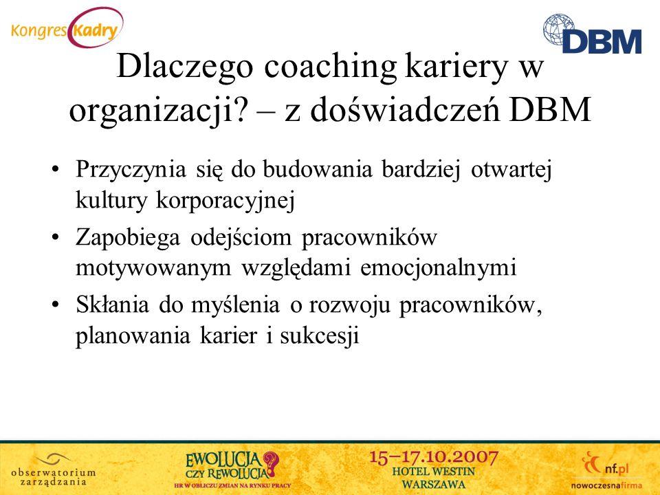 Dlaczego coaching kariery w organizacji? – z doświadczeń DBM Przyczynia się do budowania bardziej otwartej kultury korporacyjnej Zapobiega odejściom p