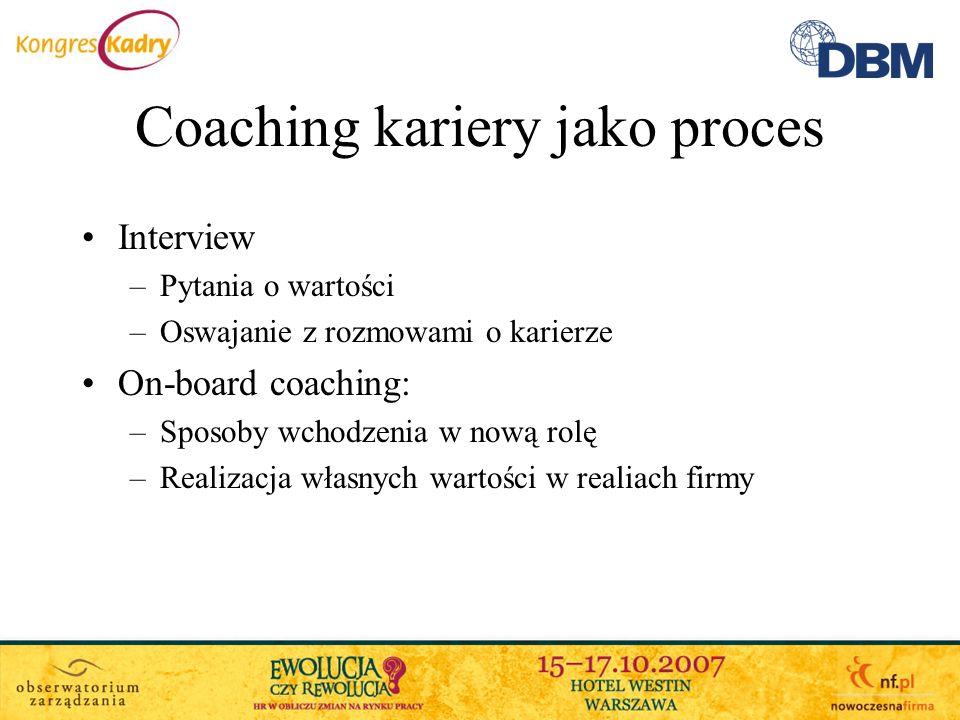 Coaching kariery jako proces Interview –Pytania o wartości –Oswajanie z rozmowami o karierze On-board coaching: –Sposoby wchodzenia w nową rolę –Reali