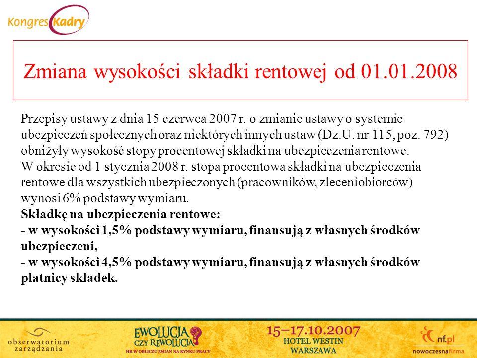 Zmiana wysokości składki rentowej od 01.01.2008 Przepisy ustawy z dnia 15 czerwca 2007 r.