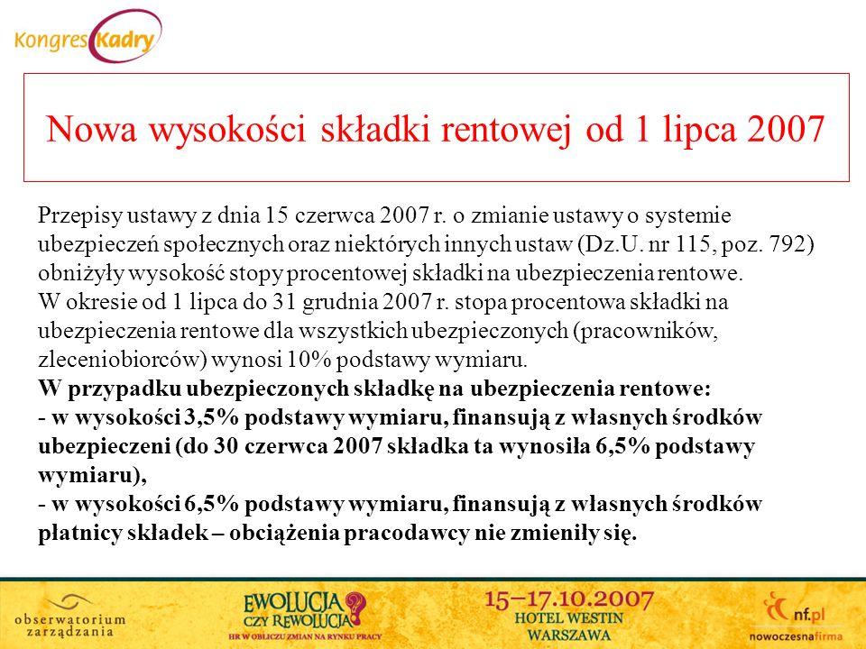 Nowa wysokości składki rentowej od 1 lipca 2007 Przepisy ustawy z dnia 15 czerwca 2007 r.