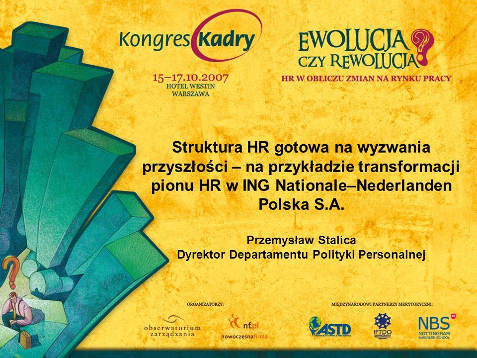 Struktura HR gotowa na wyzwania przyszłości – na przykładzie transformacji pionu HR w ING Nationale–Nederlanden Polska S.A. Przemysław Stalica Dyrekto