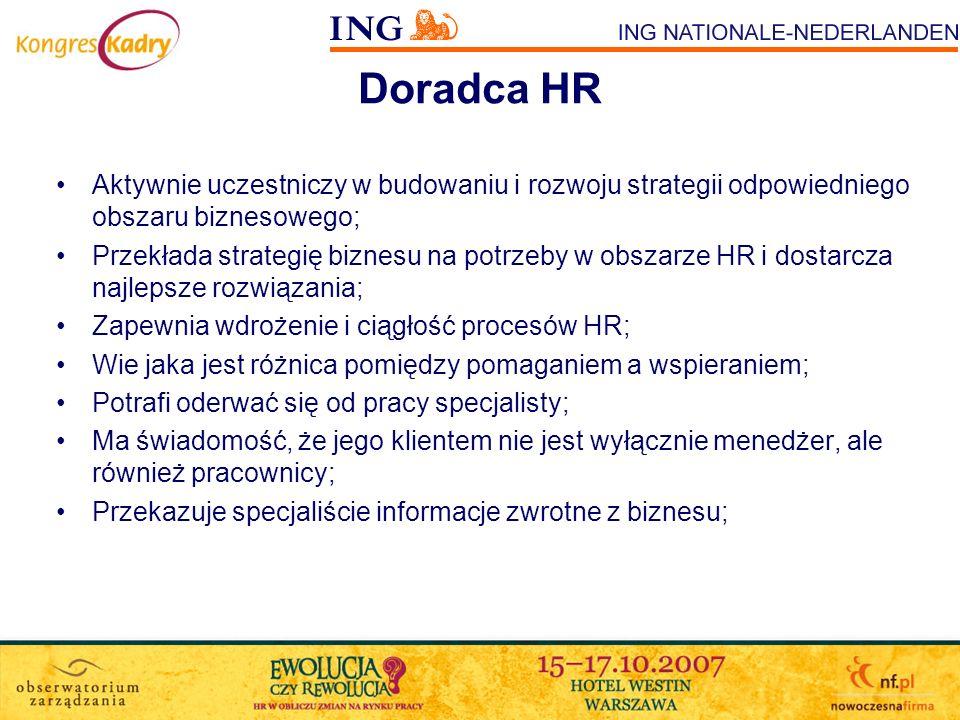 Doradca HR Aktywnie uczestniczy w budowaniu i rozwoju strategii odpowiedniego obszaru biznesowego; Przekłada strategię biznesu na potrzeby w obszarze