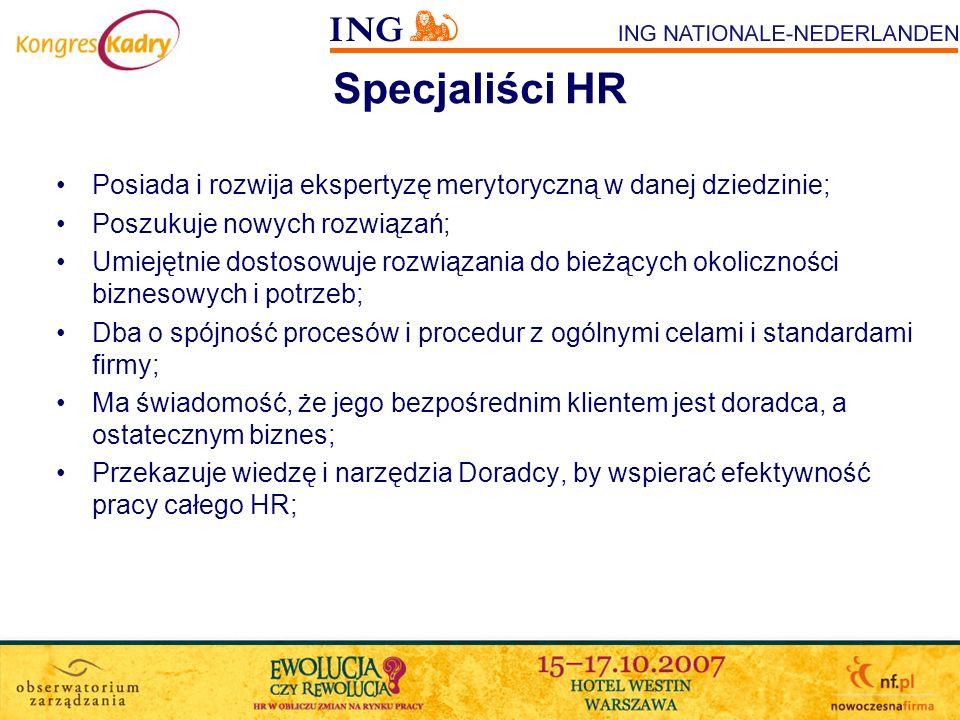 Specjaliści HR Posiada i rozwija ekspertyzę merytoryczną w danej dziedzinie; Poszukuje nowych rozwiązań; Umiejętnie dostosowuje rozwiązania do bieżący