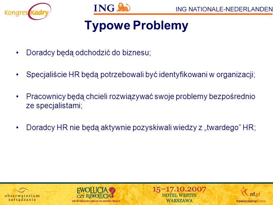 Typowe Problemy Doradcy będą odchodzić do biznesu; Specjaliście HR będą potrzebowali być identyfikowani w organizacji; Pracownicy będą chcieli rozwiąz