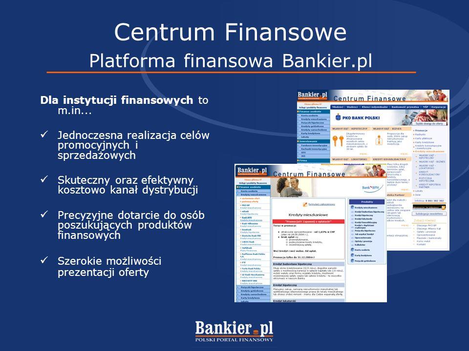 Centrum Finansowe Platforma finansowa Bankier.pl Dla instytucji finansowych to m.in...