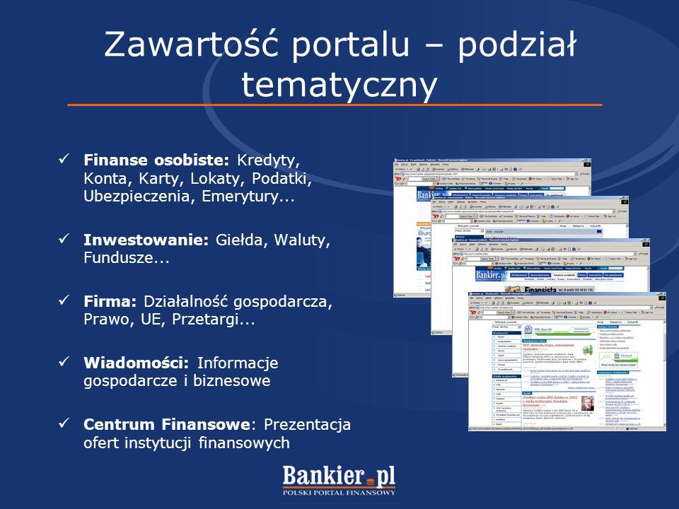 Zawartość portalu – podział funkcjonalny Newsy agencji informacyjnych i artykuły prasowe z wielu źródeł Komentarze i prognozy z rynków finansowych Notowania i wykresy walut, akcji, funduszy i inne Narzędzia i kalkulatory finansowe Prezentacje e-commerce instytucji finansowych Doradztwo finansowe – konsultanci, poradniki, forum dyskusyjne