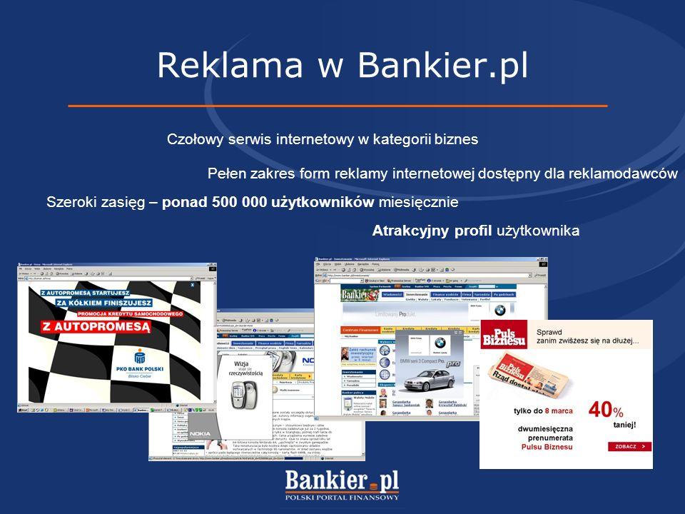 Reklama w Bankier.pl Czołowy serwis internetowy w kategorii biznes Atrakcyjny profil użytkownika Szeroki zasięg – ponad 500 000 użytkowników miesięcznie Pełen zakres form reklamy internetowej dostępny dla reklamodawców
