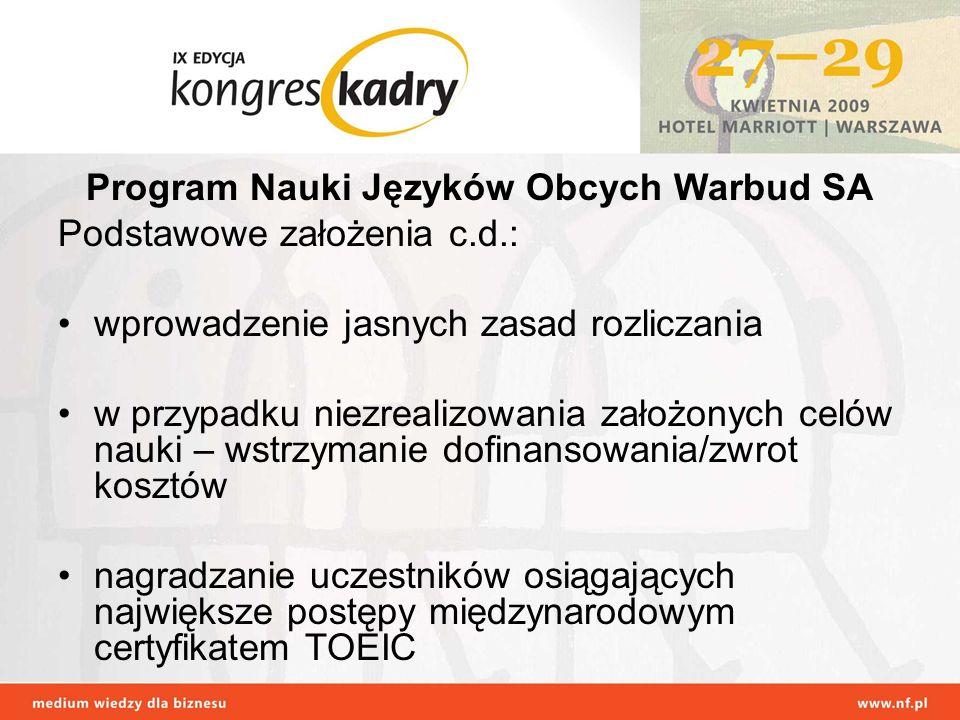 Program Nauki Języków Obcych Warbud SA Podstawowe założenia c.d.: wprowadzenie jasnych zasad rozliczania w przypadku niezrealizowania założonych celów