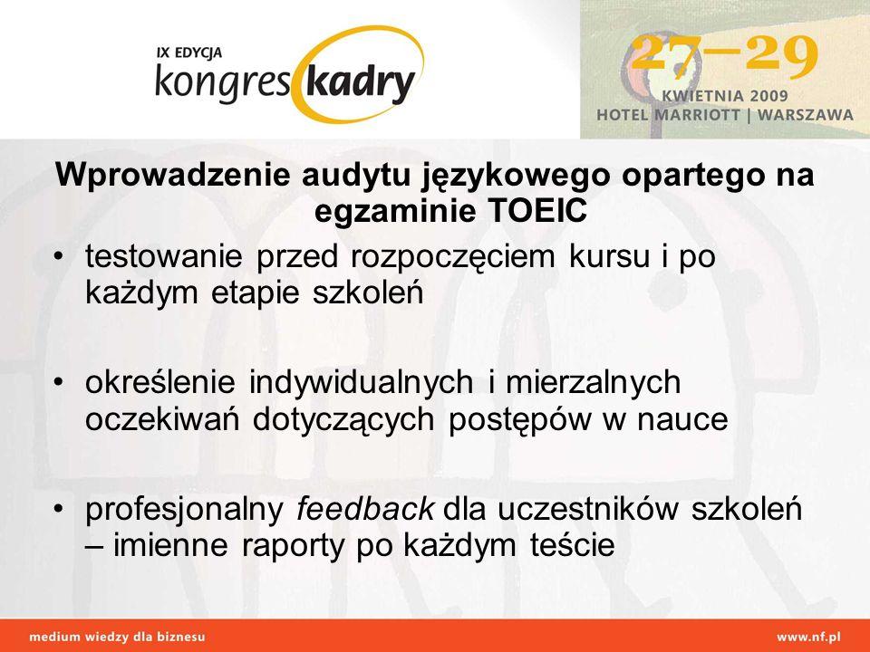 Wprowadzenie audytu językowego opartego na egzaminie TOEIC testowanie przed rozpoczęciem kursu i po każdym etapie szkoleń określenie indywidualnych i