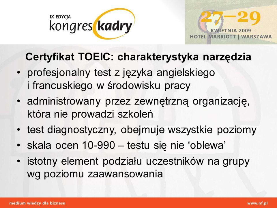 Certyfikat TOEIC: charakterystyka narzędzia profesjonalny test z języka angielskiego i francuskiego w środowisku pracy administrowany przez zewnętrzną