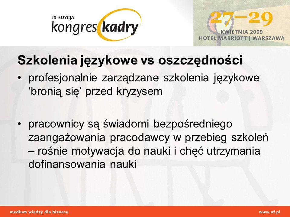 Szkolenia językowe vs oszczędności profesjonalnie zarządzane szkolenia językowe bronią się przed kryzysem pracownicy są świadomi bezpośredniego zaanga