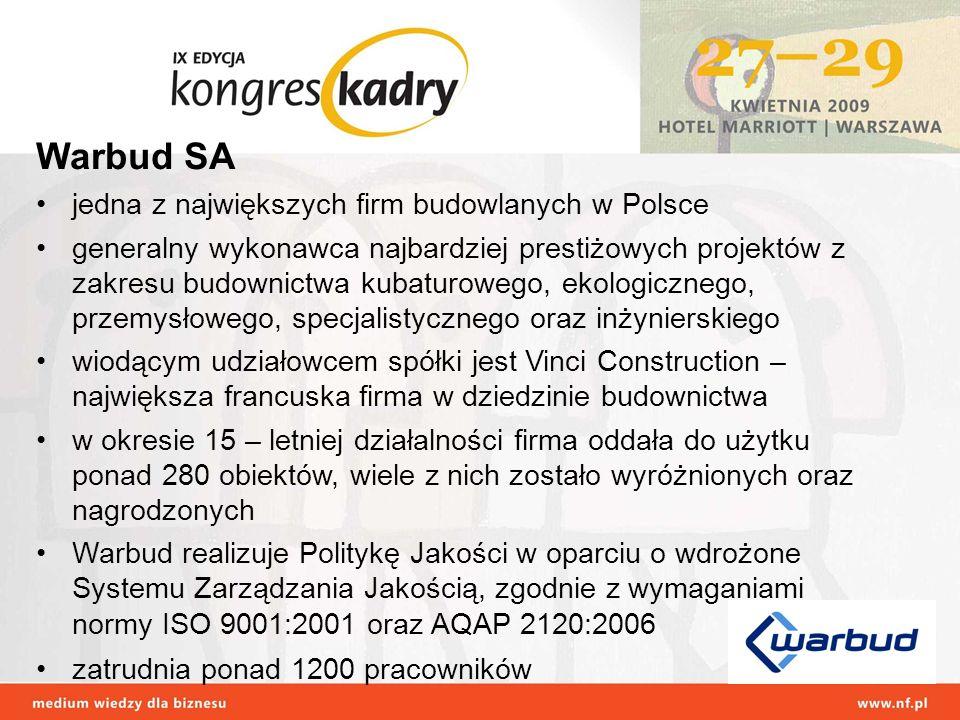 Warbud SA jedna z największych firm budowlanych w Polsce generalny wykonawca najbardziej prestiżowych projektów z zakresu budownictwa kubaturowego, ek