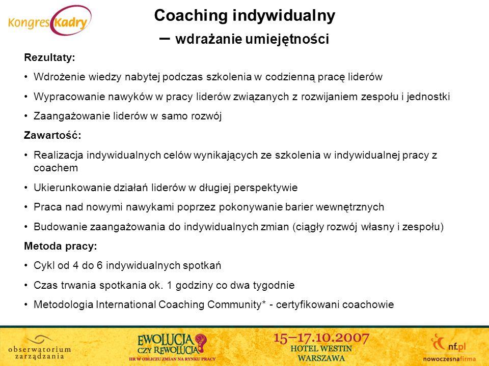 Coaching indywidualny – wdrażanie umiejętności Rezultaty: Wdrożenie wiedzy nabytej podczas szkolenia w codzienną pracę liderów Wypracowanie nawyków w