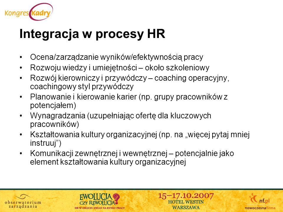 Integracja w procesy HR Ocena/zarządzanie wyników/efektywnością pracy Rozwoju wiedzy i umiejętności – około szkoleniowy Rozwój kierowniczy i przywódcz