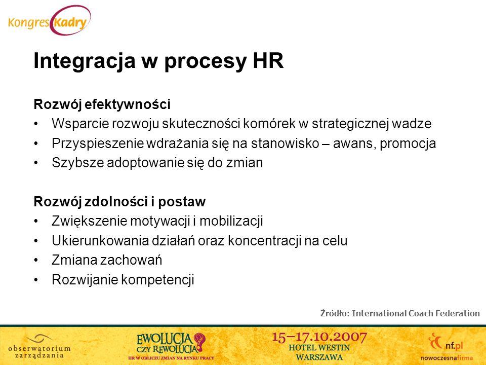 Integracja w procesy HR Rozwój efektywności Wsparcie rozwoju skuteczności komórek w strategicznej wadze Przyspieszenie wdrażania się na stanowisko – a