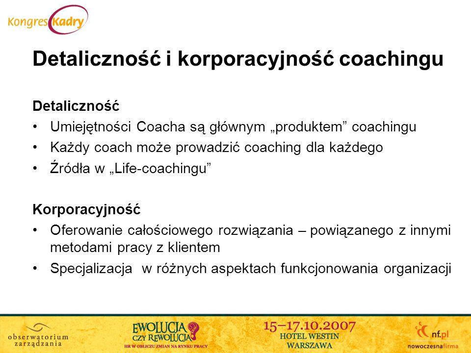 Detaliczność i korporacyjność coachingu Detaliczność Umiejętności Coacha są głównym produktem coachingu Każdy coach może prowadzić coaching dla każdeg