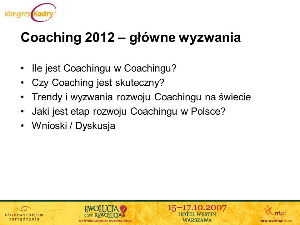 Coaching 2012 – główne wyzwania Ile jest Coachingu w Coachingu? Czy Coaching jest skuteczny? Trendy i wyzwania rozwoju Coachingu na świecie Jaki jest