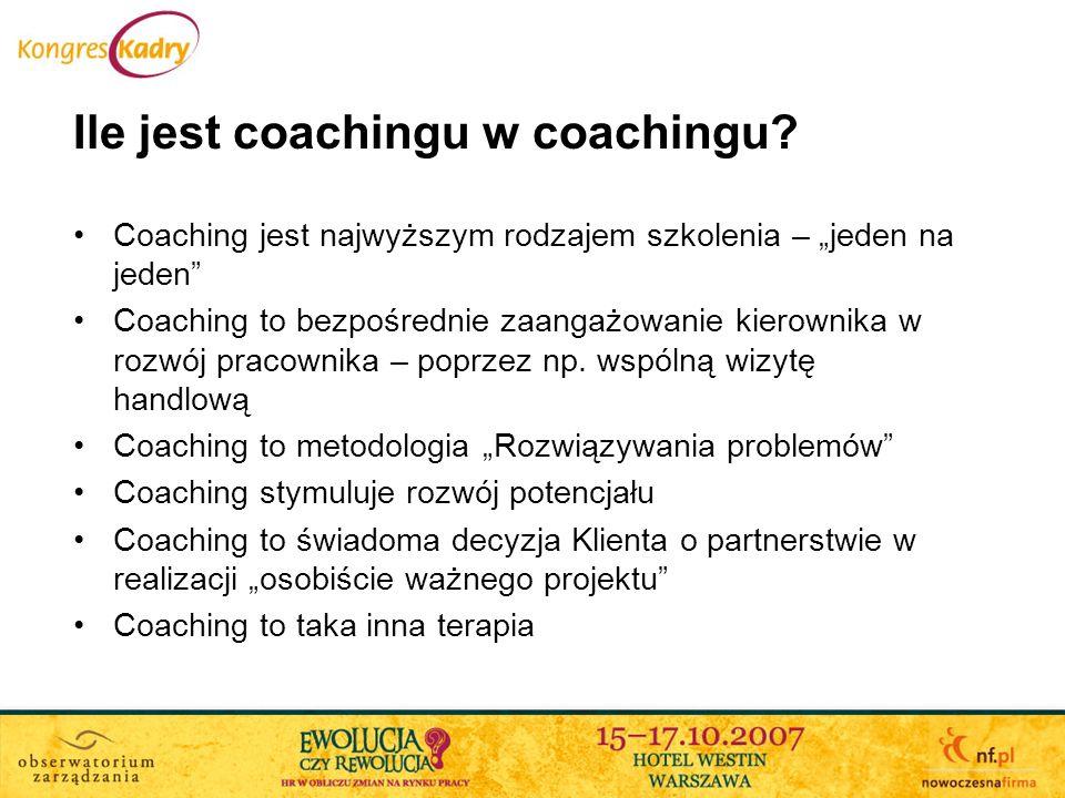 Detaliczność i korporacyjność coachingu Detaliczność Umiejętności Coacha są głównym produktem coachingu Każdy coach może prowadzić coaching dla każdego Źródła w Life-coachingu Korporacyjność Oferowanie całościowego rozwiązania – powiązanego z innymi metodami pracy z klientem Specjalizacja w różnych aspektach funkcjonowania organizacji