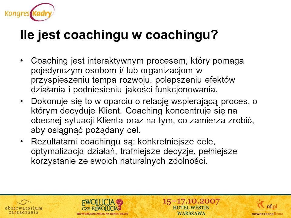 Coaching jest interaktywnym procesem, który pomaga pojedynczym osobom i/ lub organizacjom w przyspieszeniu tempa rozwoju, polepszeniu efektów działani